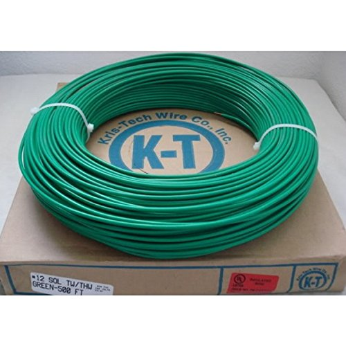 Solid Copper Grounding Wire 12 AWG THHN Cable 150' FT Green Jacketed Satellite Dish Off-Air TV Signal Antenna Lightning Strike Ground Protection 12 GA Gauge