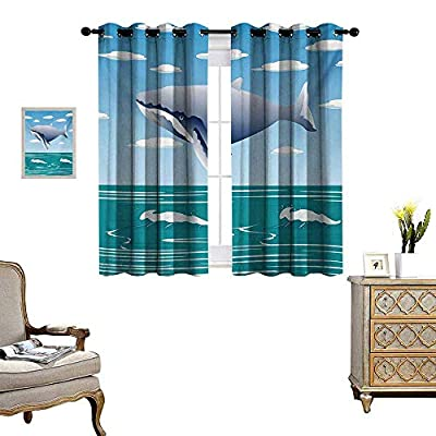 Whale Room Darkening Wide Curtains Ocean Sunny Summer Landscape with Huge Jumping Whale on Air Cartoon Style Design Artwork Decor Curtains by W55 x L39 Blue