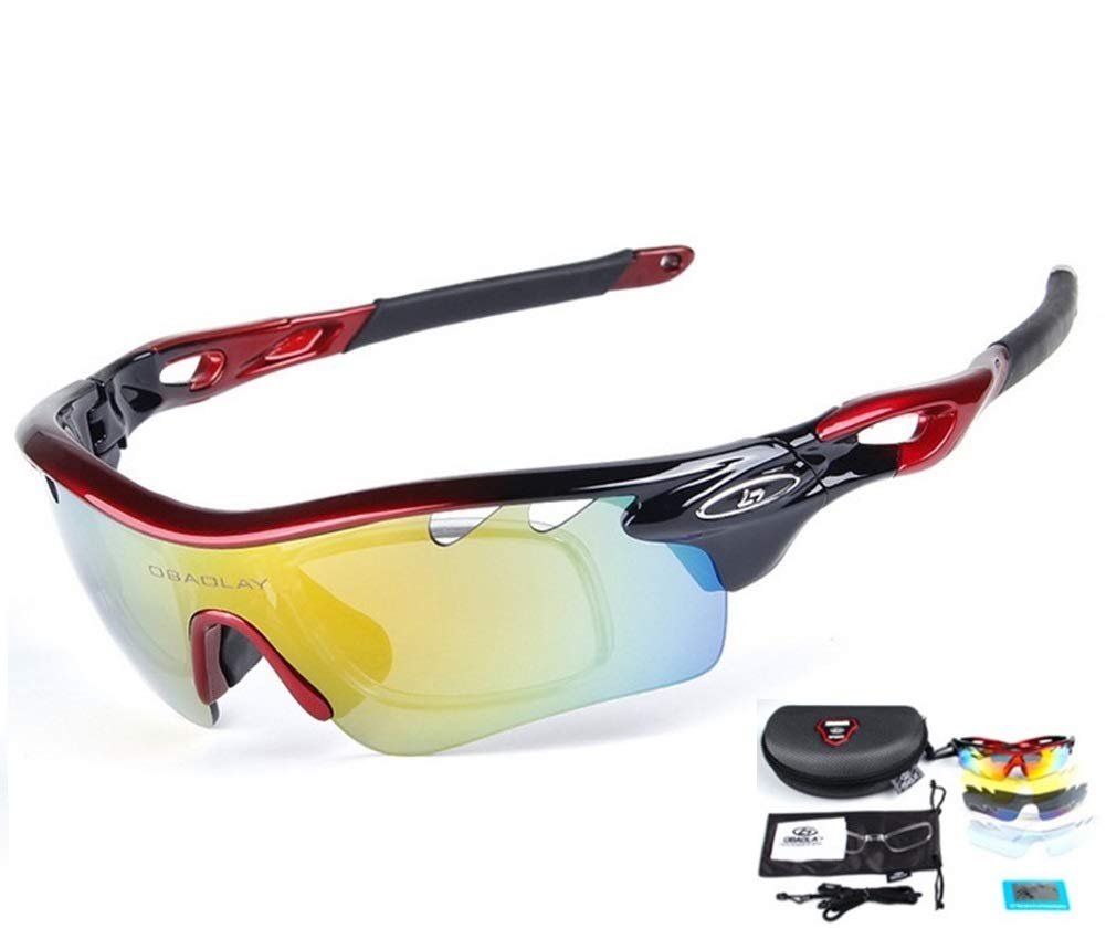 Baselay Polarized Sports Sunglasses with 5 Interchangeable Lenes UV400 Sun Glasses for Men Women Youth Cycling Running Driving Fishing Golf Baseball TAC Goggles (Red/Black)