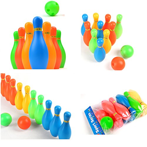 SNNplapla 11CM Plastic Bowling Set Outdoor Mini Interaction Leisure Educational Toys with Ball and Pins