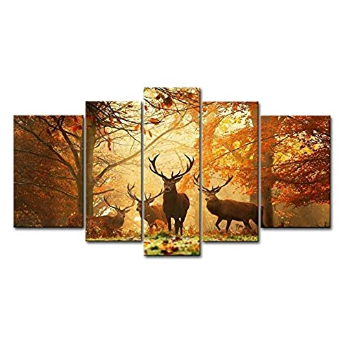 Qicai modern canvas wall art painting for home decor 5 panels brown deer in autumn forest paintings printed pictures stretched for home decorationready to