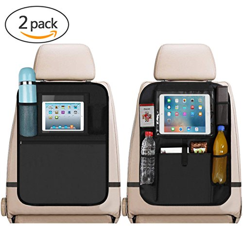 Car Back Seat Organizer, 2Pcs Oxford Waterproof Car Front Seat Protector, Multi-Pocket Car Travel Storage Bag for iPad Tablet Bottle Drink Tissue Box Toys Vehicles Travel Accessories