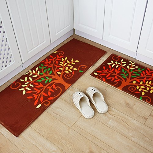 HOMEE Carpet Door Mat Hall Foot Pad Kitchen Toilet Water Absorption of Dust Non-Slippery Floors Pad,E,5080+45120Cm by HOMEE