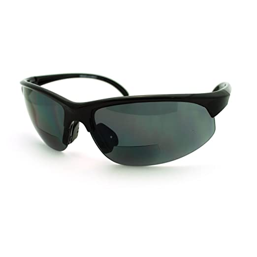 d8293c50ec Mens Sunglasses with Bifocal Reading Lens Half Rim Sports Fashion (Black