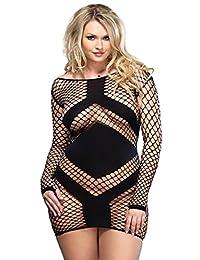 Womens Plus Size Sexy Long Sleeve Opaque Fishnet Diamond Net Mini Dress Lingerie