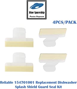 4PCS/PACK Reliable 154701001 Splash Shield. Replacement Part Fits for Frigidaire Kenmore Dishwasher and Replaces 1465007, 154685101, AH2203346, EA2203346, PS2203346, LP10509