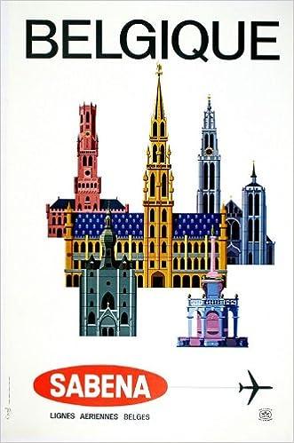 Vintage Sabena Airlines Flights to Belgium  Poster  A3 Print