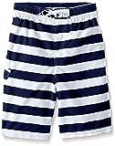 Kanu Surf Little Boys' Toddler Troy Stripe Swim Trunk, Navy/White, 4T