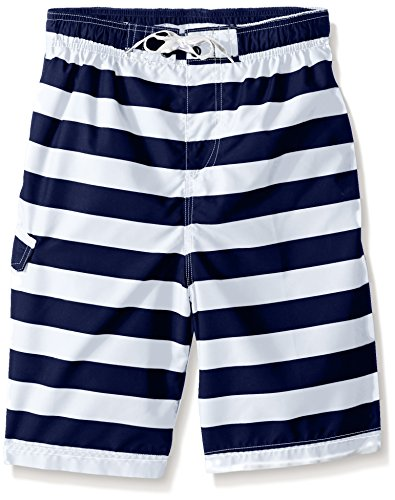 Kanu Surf Boys' Toddler Specter Quick Dry UPF 50+ Beach Swim Trunk, Troy Navy/White, 3T