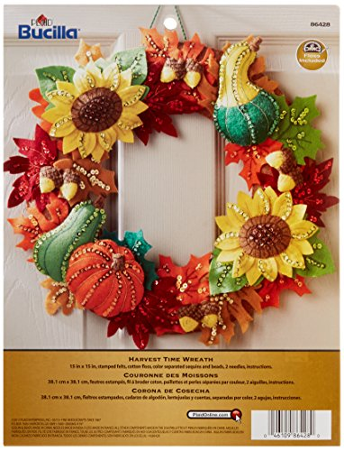 Bucilla Felt Applique Wreath Kit, 15-Inch Round, 86428 Harvest Time
