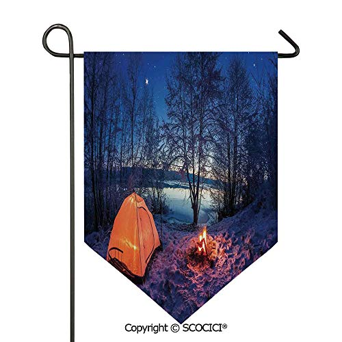 (SCOCICI Easy Clean Durable Charming 28x40in Garden Flag Dark Night Camping Tent Photo in Winter on Snow Covered Lands by The Lake,Blue Orange Double Sided Printed,Flag Pole NOT Included)