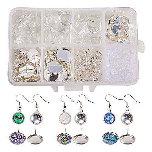 SUNNYCLUE 1 Box DIY 30 Pairs Cabochon Pendant Stud Earrings Making Kit 60pcs Earring Bezel Earring Settings with 60pcs 12mm Clear Glass Cabochons, Earring Hooks