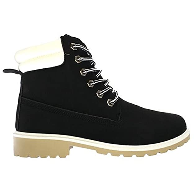 Koo-T Womens Ladies Faux Fur Collar Boot Size 3 4 5 6 7 8 Hiker Lace Up:  Amazon.co.uk: Shoes & Bags