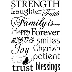 Family Wall Decal-Classic-Set of 12 Family Words Quote Family Wall Sticker Picture Wall Decal (The Picture. No Photos Included)