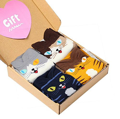 4 Pairs Soft Comfortable Novelty Cartoon Aminal Cat Crew Pattern Cotton Socks (4 pairs(4 colors cat))
