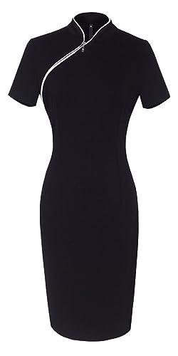 HOMEYEE Women's Classic Slim Fit Short Sleeve Midi Dress UB60