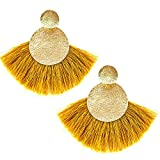 Circle Tassels Earrings, Tassels Pendant Earrings, Designer Tassels Jewelry Making By MeliMe (Dark yellow)