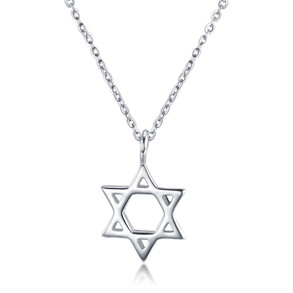 LicLiz Jewish Star of David Pendant Necklace, Sterling Silver Dainty Religious Necklace for Girls 16""