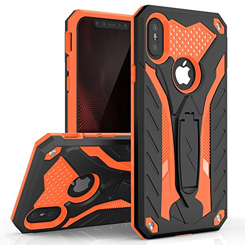 Zizo Static Series Compatible with iPhone X case with Kickstand Military Grade Drop Tested Impact Resistant Heavy Duty Case iPhone Xs Black Orange