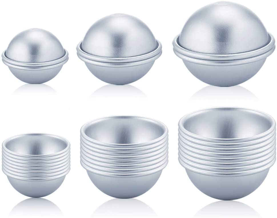 Caydo 30 Pieces 3 Sizes DIY Metal Bath Bomb Mold 15 Set for Crafting Your Own Fizzles