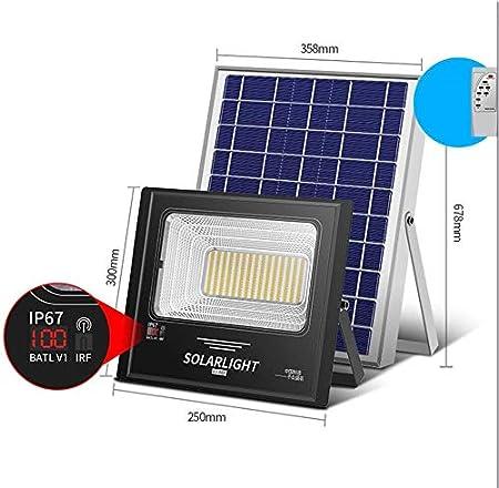 Q-fo Foco Proyector LED Solar Exteriores Pantalla LCD, Luces De ...