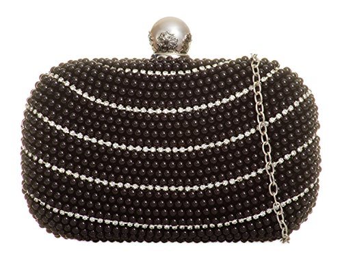 Pearl 1412 Clutch Wedding Prom Black LeahWard Women's Handbag Bag Bridal's Purse Bp7qHwHf