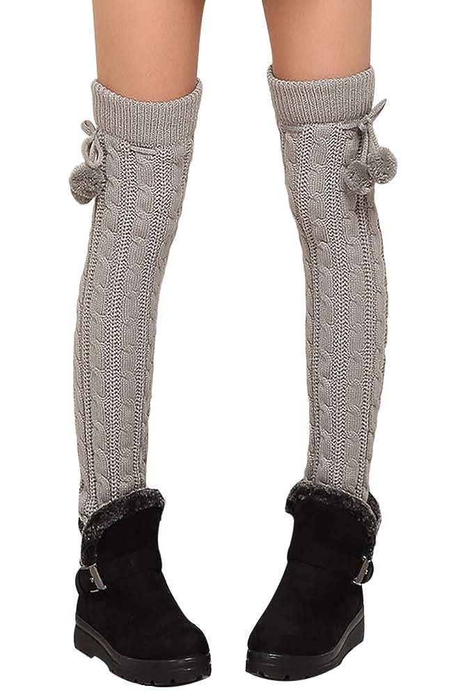 Fasker Women Warm Leg Warmers Winter Knit Ribbed Fashion Long Boot Cuffs Socks ACS-152-1