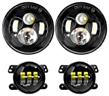 #10: Nilight Jeep Headlight 2PCS 7Inch LED Headlights and 2PCS LED Fog Lights Super White High/Low Projector Round LED Headlights for Jeep Wrangler, 2 Years Warranty