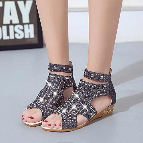Summer Women Hollow Wedge Ladies Shoes Spring Mouth Roma Sonnena Fish Fashion Black Sandals 5qwtOnzSxp