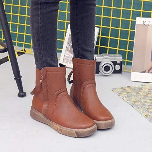Antideslizantes Mujer Estudiantes Botas Ma Dingxue Con Cremallera Plana Suaves Doble Y Otoño Para Boots De Base Junkai Invierno CxwOnw5