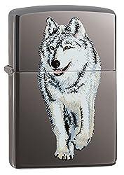 Zippo Red Eyed Wolf Pocket Lighter, Street Chrome