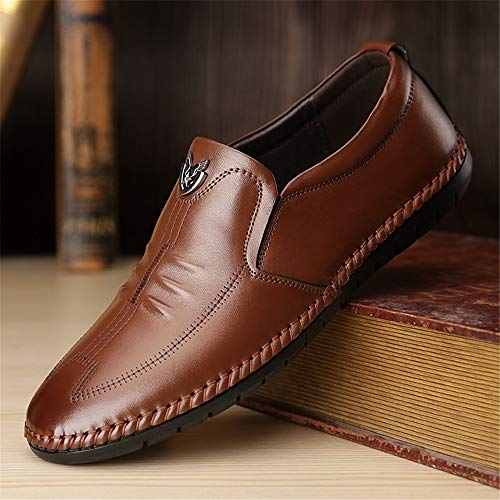 Qiusa Casual Formal De Zapatos Tamaño Toe 39 Eu Brown Wing Business Confort Para Marrón Party Hombre Cuero Black color Lofers rwFrzqX