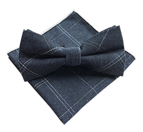 Elfeves Men Blue Silk Jacquard Ascot Bow Ties Set Pre-Tied Bowties Weddings - Shirt Cotton Italian Lines Dress