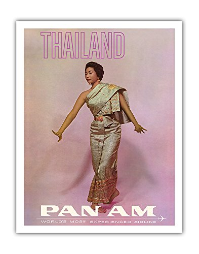 Thailand - Thai Dancer - Pan American World Airways - Vintage Airline Travel Poster c.1970s - Fine Art Print - 11in x 14in by Pacifica Island Art