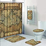 Philip-home 5 Piece Banded Shower Curtain Set Wood Texture Surface Natural Color with World map Pattern Adornment