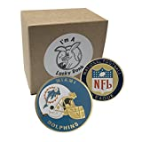 American Football Team Challenge Coin Miami Dolphins Poker Card Marker Collectible plus display case, and a Free Sticker by Lucky Donk