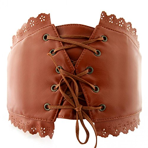 Womens Leather Lace Up Corset Style Elastic Cinch Belt Waistband Solid Color (Leather Cinch Belt)