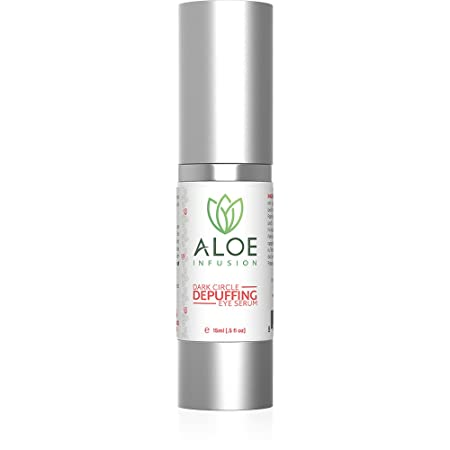 Aloe Infusion Dark Circle Depuffing Eye Serum – For Eye Bags, Dark Spots, Discoloration of Skin and More – Face, Eyes, Neck Hands – Made in USA