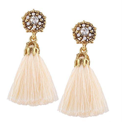 Jewel-encrusted Women Earrings Fashion Rhinestone Long Dangle Tassel Ear Drop(Beige)