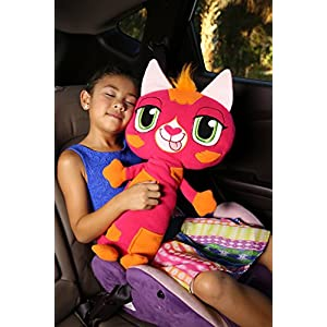 Jay at Play Seat Pets (New Pink Cat) by As Seen on TV - Kids Seat Belt Car Travel Pillow and Plush Animal Toy – Compatible with Any Safety Belt to Provide Head & Neck Support