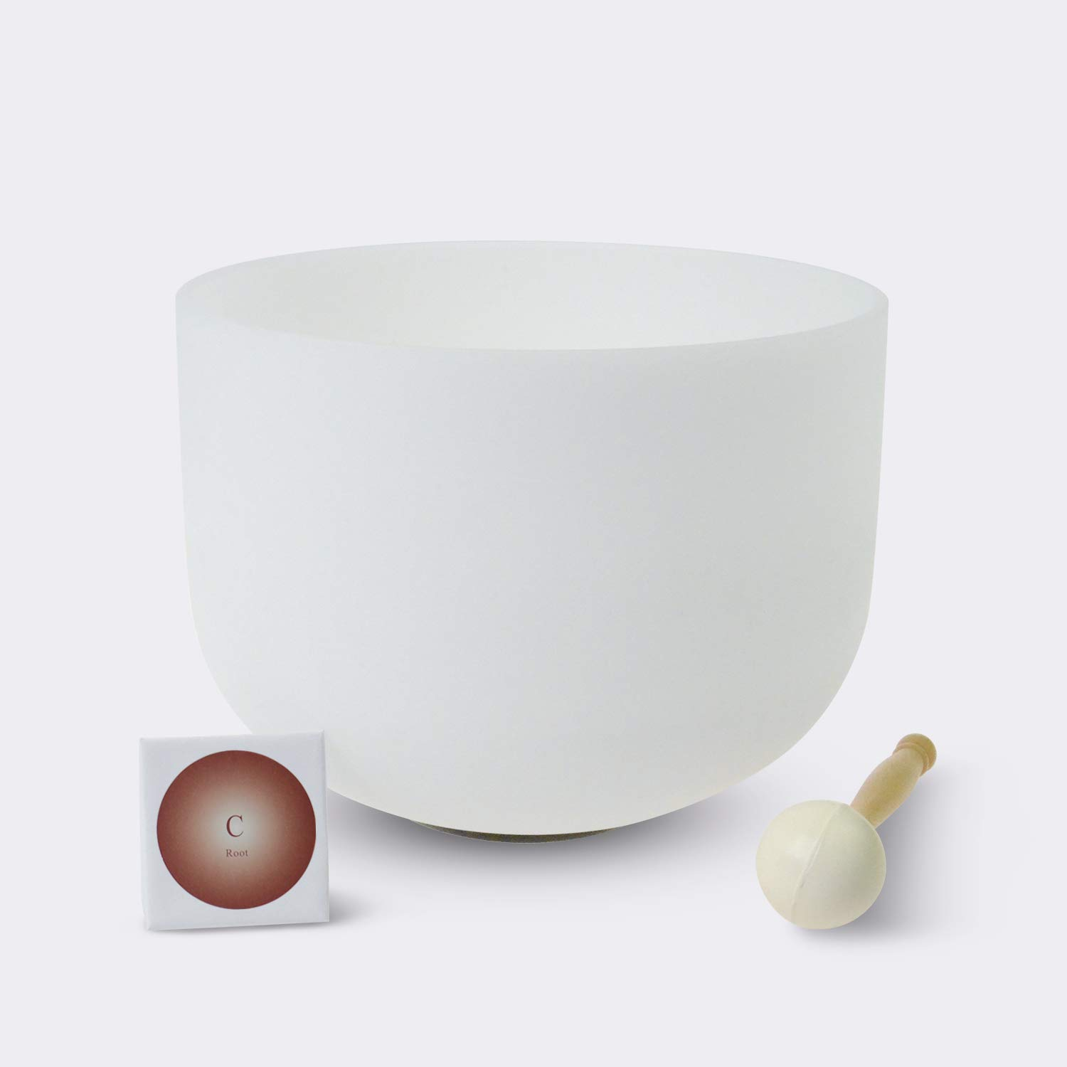 TOPFUND Singing Bowls C Note Crystal Singing Bowl Root Chakra 12 inch (O-Ring and Rubber Mallet Included) by TOPFUND (Image #1)
