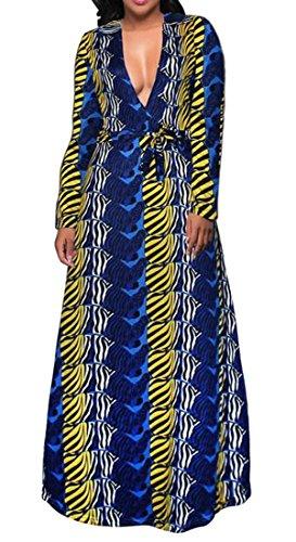 Di Womens Cinghia Lunga Vestito V Scollo Grande Maxi Stampa Floreale Cromoncent A Bordo Blu Zaffiro Voga Manica wqRrBRTI