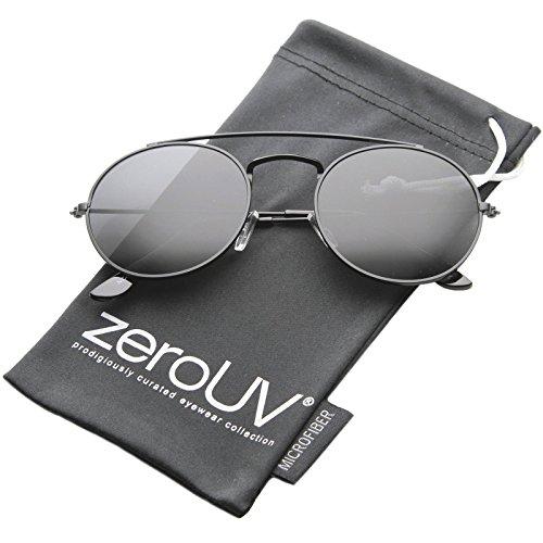 zeroUV - Retro Fashion Minimal Thin Metal Brow Bar Round Sunglasses 52mm (Black / - With Brow Sunglasses Round Bar