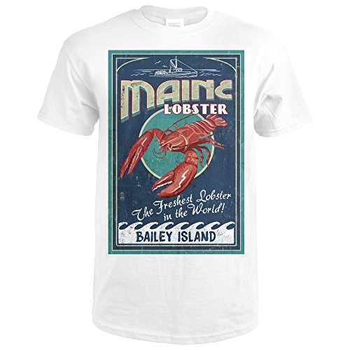 Bailey Island, Maine - Lobster Vintage Sign (Premium White T-Shirt (Bailey Mens Clothing)