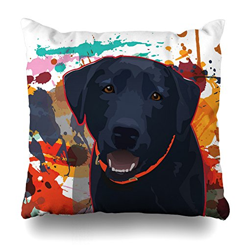 - ONELZ Black Lab Graphic Portrait with Splattered Paint Square Decorative Throw Pillow Case, Fashion Style Zippered Cushion Pillow Cover £¨18 x 18 inch£