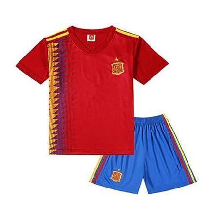 shi1 8sport Camiseta España – Balón de fútbol Infantil Ropa Traje 2018 Fans Souvenir Fútbol Ropa Primaria. Niños y Niñas Verano