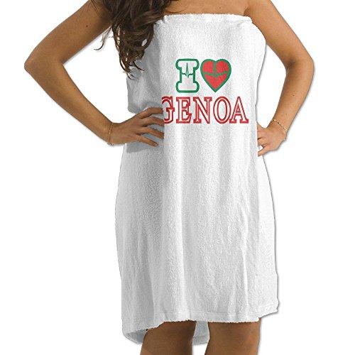 (Shi Fu I LOVE GENOA Men's Womens Bath Wrap Towels Bathroom Shower Wrap Beach Spa White For Teen Girls Adults Travel Towel)