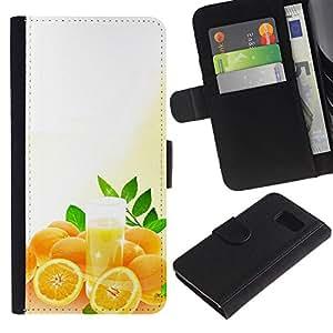 ZONECELL ( No Para S6 EDGE ) Imagen Frontal Negro Cuero Tarjeta Ranura Trasera Funda Carcasa Diseño Tapa Cover Skin Protectora Case Para Samsung Galaxy S6 SM-G920 - fruta macro naranjas