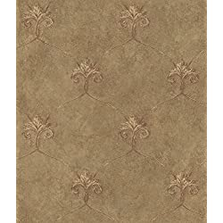 Chesapeake ARS26165 Tuscan Shimmering Ogee Wallpaper, Brown