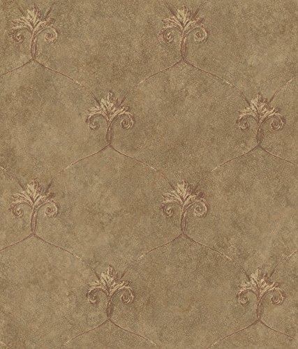 Chesapeake ARS26165 Tuscan Shimmering Ogee Wallpaper, Brown
